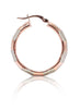 Brush Painted Rose Gold Hoop Earrings - Sterling Silver - LeCalla.in