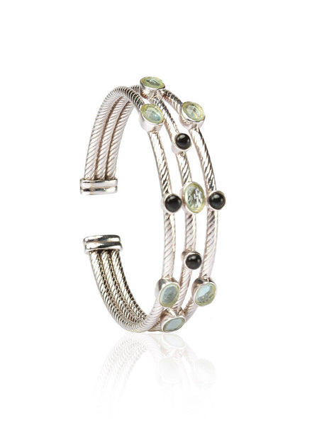 The ShowStopper Hollow Cuff Bangle - Sterling Silver - LeCalla