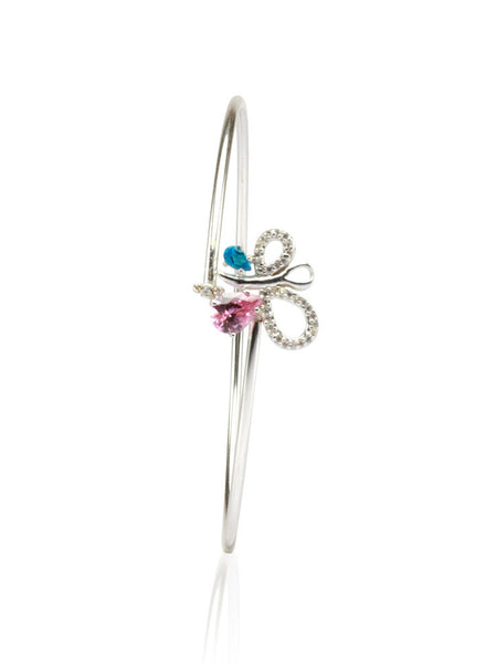 Butterfly Magic Silver Bangle - Sterling Silver - LeCalla
