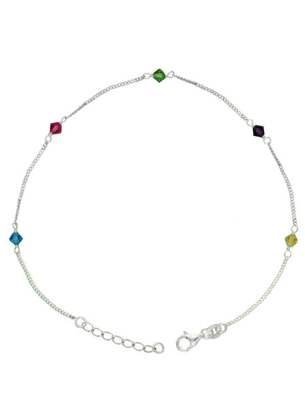 Buy Online India Trendy Multi Colour Fashion Anklet - Sterling Silver - LeCalla
