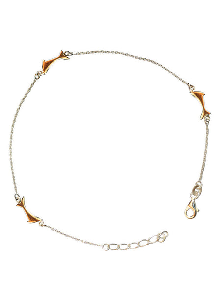 Buy Online India Cute Dolphin Nature Inspired Fashion Anklet - Sterling Silver - LeCalla