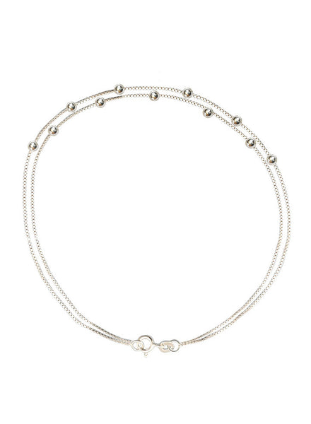Buy Online India Two Layer Box Chain Trendy Fashion Anklet - Sterling Silver - LeCalla