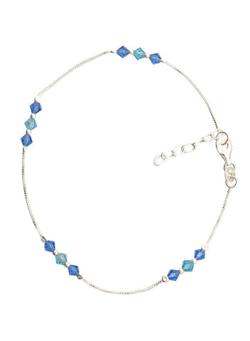 Buy Online India Blue Beads Ocean Inspired Trendy Fashion Anklet - Sterling Silver - LeCalla