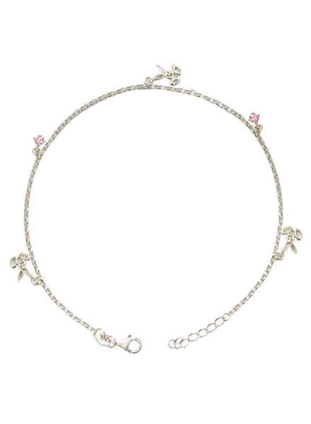 Buy Online India Cute Bunny Pink Stone Trendy Fashion Anklet - Sterling Silver - LeCalla