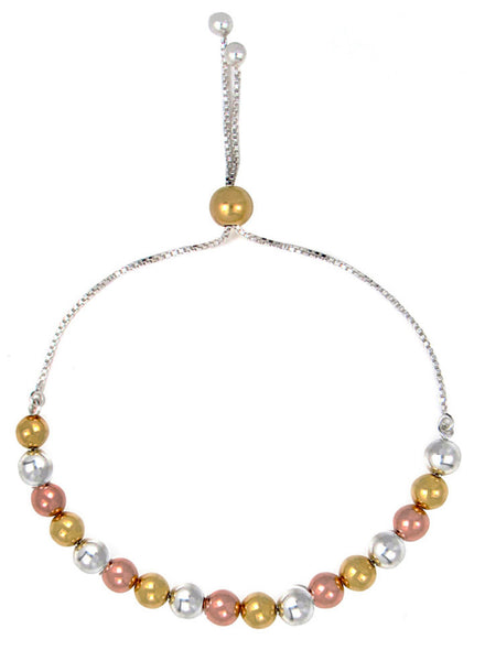 LeCalla's Classy Three Tone Pearls String Sliding Bracelet-Sterling Silver - Online India