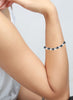 LeCalla's Classy Oxidized Rhodium Pearls String Sliding Bracelet - Sterling Silver