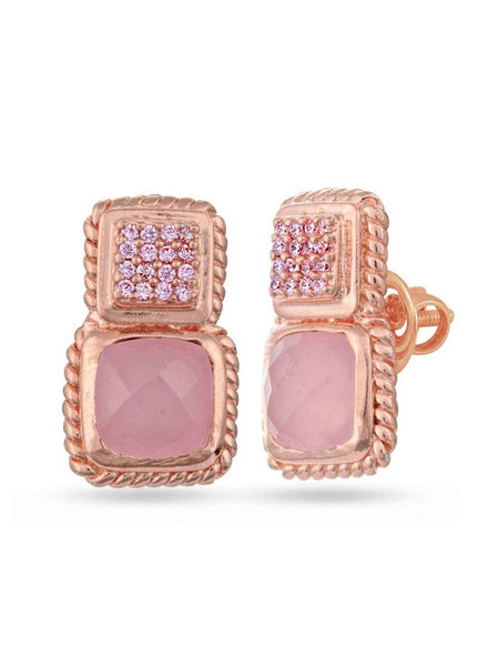 Rose Gold Stud earring in 925 silver-lecalla.in