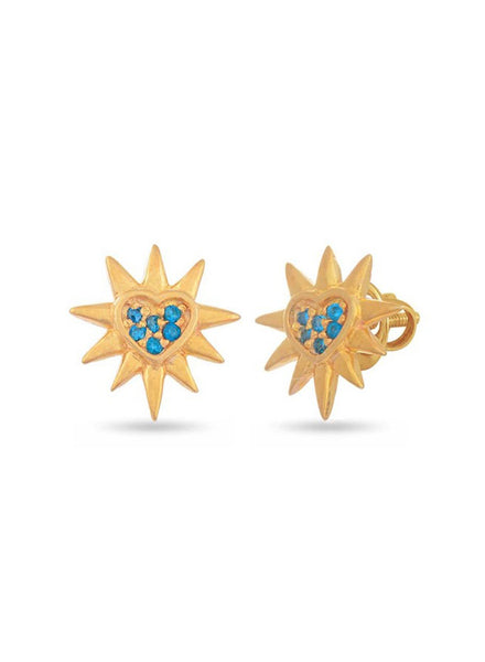 Yellow Gold Stud earring in 925 silver-lecalla.in