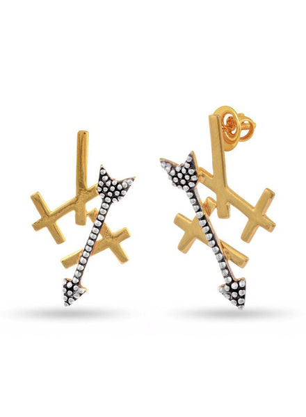 Oxidized, Yellow Gold Stud earring 925 silver-lecalla.in