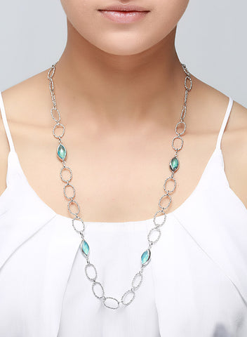 Blue Lagoon Long Necklace - Sterling Silver - LeCalla