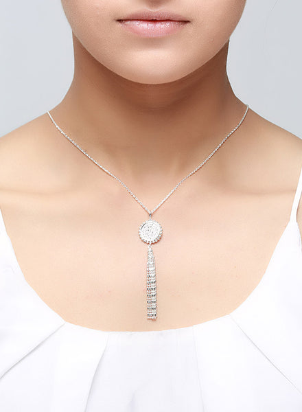 Tassel Coin Stunning Silver Necklace
