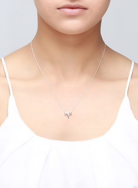 Three Tone Cross Motif Necklace - Sterling Silver - LeCalla
