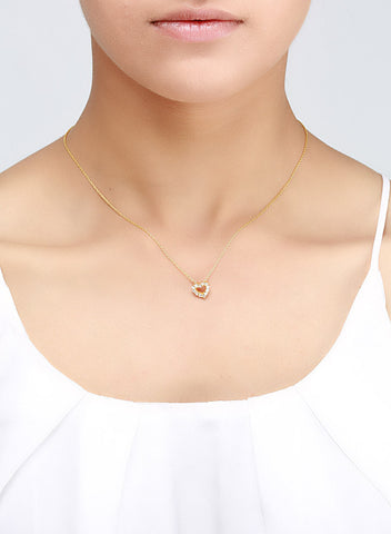 Stunning Delicate Gold Plated Heart Necklace - Sterling Silver - LeCalla