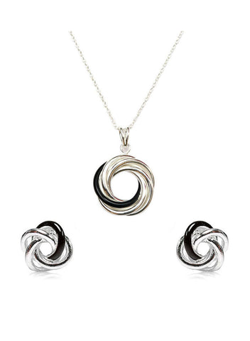 Love Knot Silver Black Enameled Pendant Set