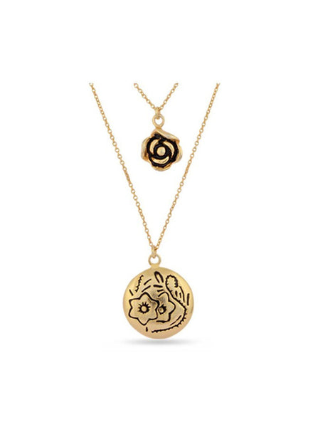 Yellow Gold Pendant Necklace in 925 silver-lecalla.in