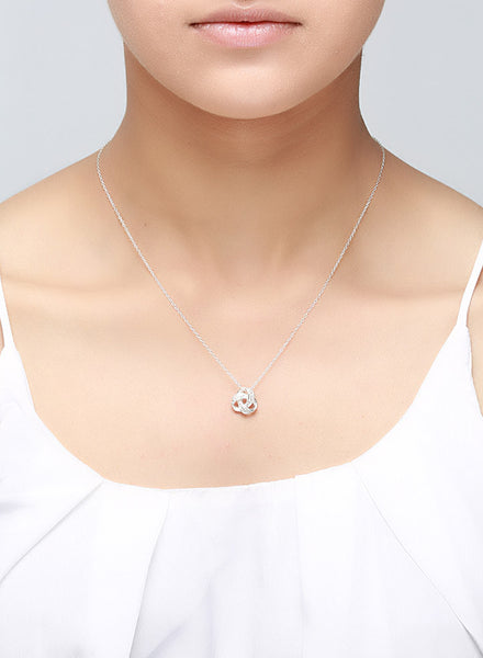 Love Knot Trendy Silver Necklace - Sterling Silver - LeCalla