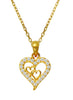Hearts in Heart Stone Studded Silver Necklace - Yellow Gold LeCalla Online India