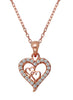 Hearts in Heart Stone Studded Silver Necklace - Rose Gold LeCalla Online India