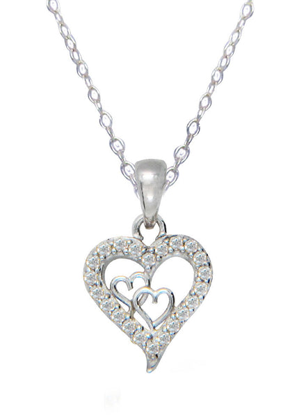 Hearts in Heart Stone Studded Silver Necklace - Rhodium LeCalla Online India