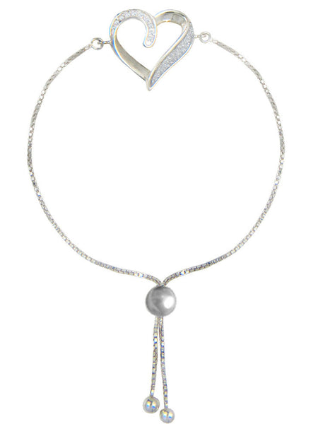 Heart Glitter Sliding Adjuster Silver Bracelet - Sterling Silver - LeCalla