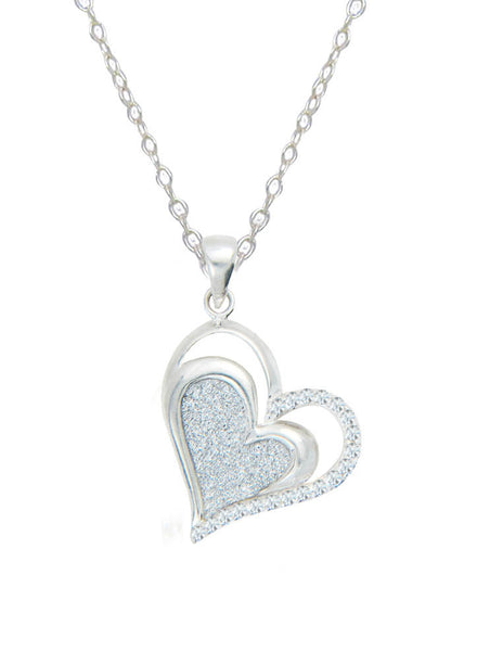 Heart Glitter Stone Silver Necklace - Sterling Silver - LeCalla