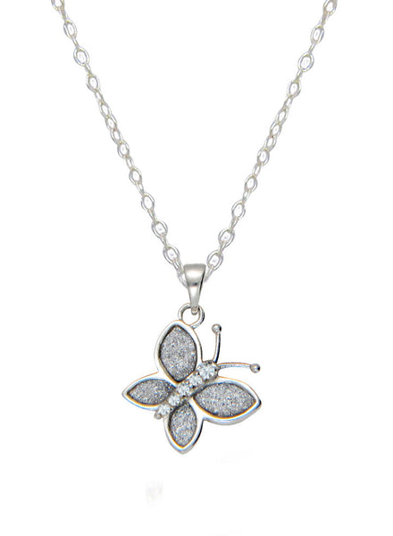 Butterfly Pendant Glitter Stone Silver Necklace - Sterling Silver - LeCalla