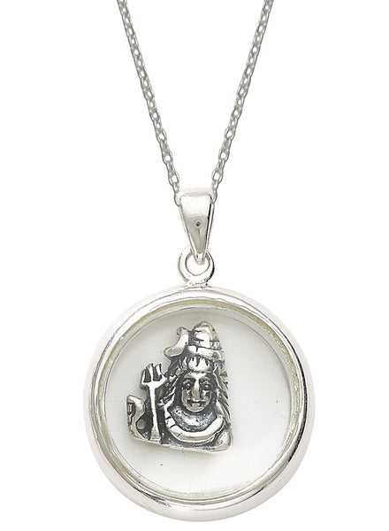 Lord Shiva Religious Looking Glass Pendant Necklace - Sterling Silver - LeCalla
