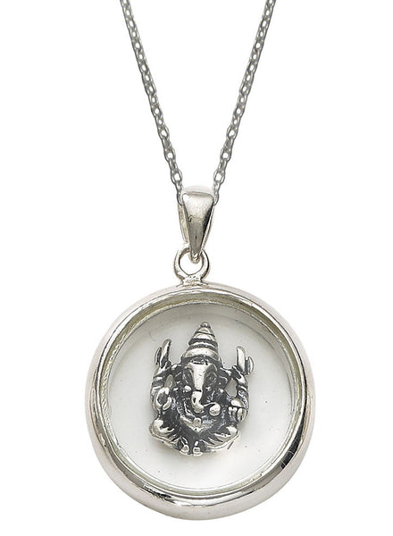 Lord Ganesha Looking Glass Pendant - Sterling Silver - LeCalla