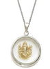 Lord Ganesha Gold Plated Looking Glass Pendant - Sterling Silver - LeCalla