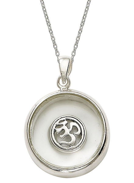 Om Inside Looking Glass Religious Pendant - Sterling Silver - LeCalla