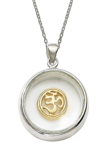 Om Inside Gold Plated Looking Glass Pendant - Sterling Silver - LeCalla