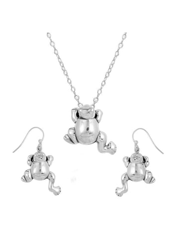 Sterling Silver Frog Style Pendant Set