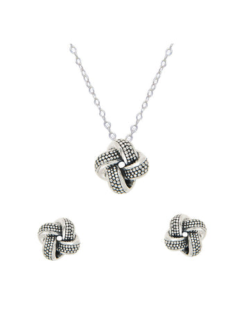 Silver Love Knot Necklace Earring Pendant Set