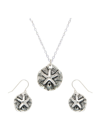 Silver Sand Dollar Necklace Earring Pendant Set