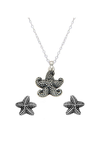 Silver StarFish Necklace Earring Pendant Set