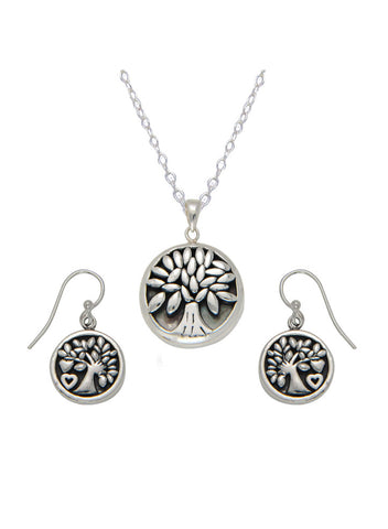 Sterling Silver Tree of Life Necklace Earring Pendant Set