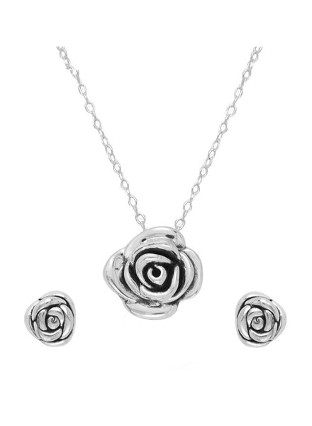 Sterling Silver Rose Flower Necklace Earring Pendant Set