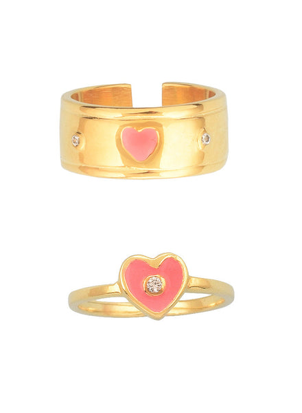 Heart My Heart Midi Ring Set - Trendy Jewelry - LeCalla
