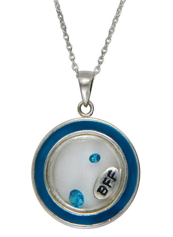 Best Friends Forever Looking Glass Pendant - Sterling Silver - LeCalla
