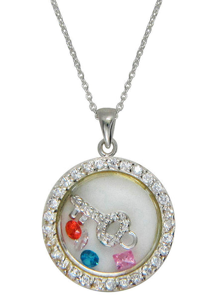 Blingy Key Looking Glass Pendant - Sterling Silver - LeCalla