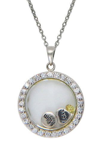 Love You Mom Looking Glass Pendant - Sterling Silver - LeCalla