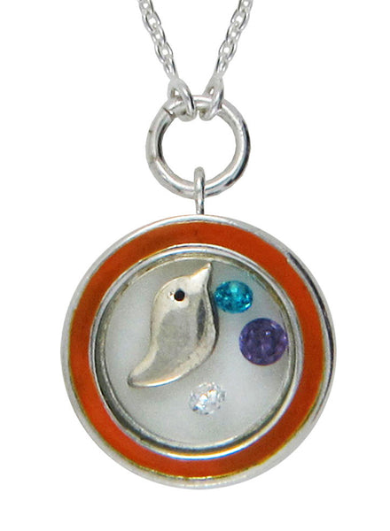 Cute Bird Looking Glass Pendant - Sterling Silver - LeCalla