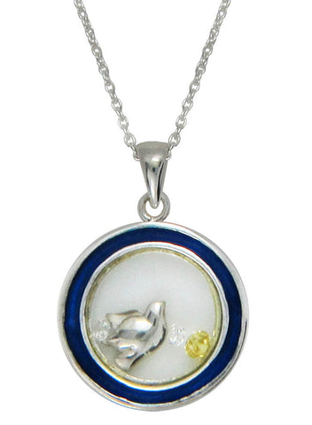 Dove Inspired Looking Glass Pendant - Sterling Silver - LeCalla