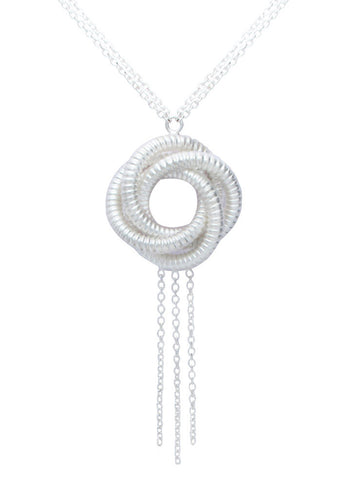 Algerian Love Knot Matte Silver Necklace - Online India - Sterling Silver LeCalla