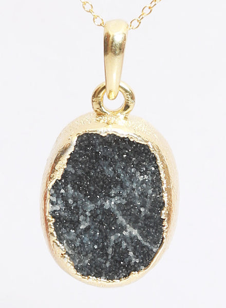 Geodes Black Druzy Pendant - Sterling Silver - LeCalla