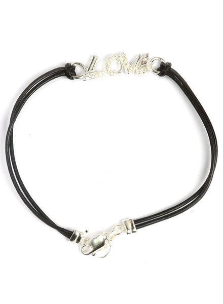 Love Black Chord Bracelet - Sterling Silver - LeCalla.in
