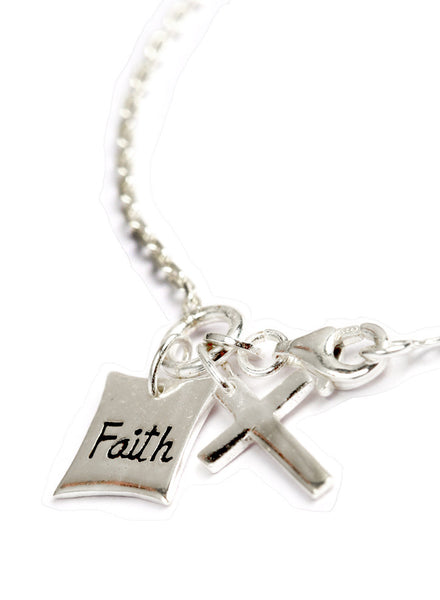 Faith Cross Link Bracelet - Sterling Silver - LeCalla.in