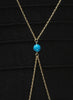 Turquoise Bead Body Chain - Brass - LeCalla