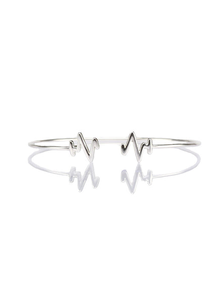 Heart Beat Silver Bangle - Sterling Silver - LeCalla.in