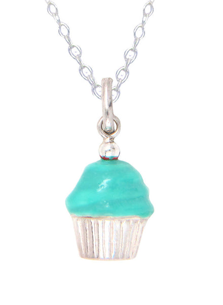 Blue Topping Cuppy Cake Sweet Necklace - Sterling Silver - LeCalla Online India